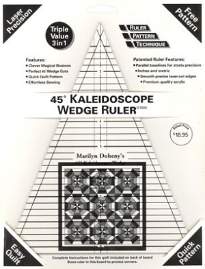 45 Degree Kaleidoscope Wedge Ruler with instruction board